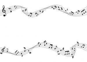 Two row of musical notes and chords